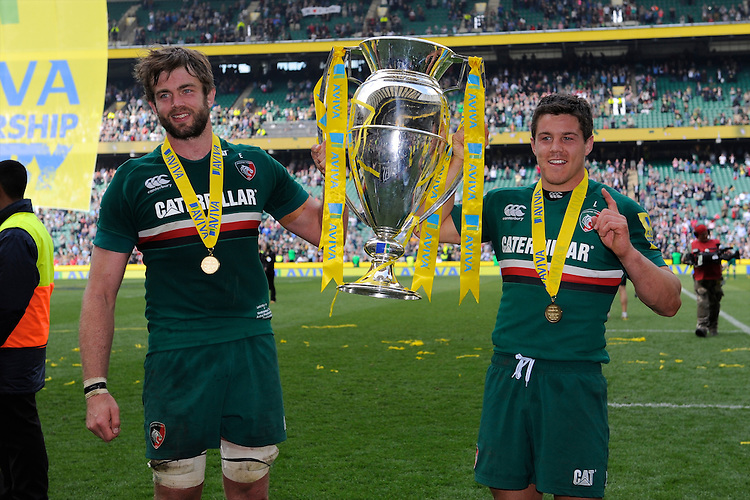 Geoff Parling (left) and Anthony Allen of Leicester Tigers with the trophy after the Aviva Premiership Final between Leicester Tigers and Northampton Saints at Twickenham Stadium on Saturday 25th May 2013 (Photo by Rob Munro)