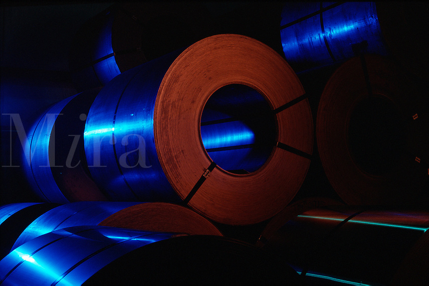 Abstract view of steel coils.