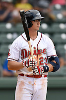 Thhird baseman Bobby Dalbec (23) of the Greenville Drive bats in a game against the Hickory Crawdads on Sunday, July 16, 2017, at Fluor Field at the West End in Greenville, South Carolina. Hickory won, 3-1. (Tom Priddy/Four Seam Images)