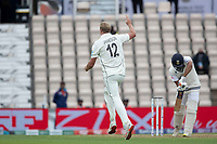 Kyle Jamieson, New Zealand celebrates the wicket of Rohit Sharma during India vs New Zealand, ICC World Test Championship Final Cricket at The Hampshire Bowl on 19th June 2021