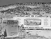 """0301-597. Route 66 Highway sign """"Entering Navajo Reservation. U. S. Department of the Interior."""" 1950s"""