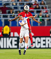 CARSON, CA - FEBRUARY 07: Kadeisha Buchanan #3 of Canada goes up for a header with Maria Paula Salas #17 of Costa Rica during a game between Canada and Costa Rica at Dignity Health Sports Park on February 07, 2020 in Carson, California.