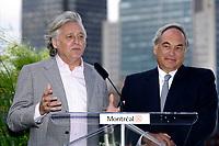 August 12, 2012 File Photo - Montreal (Quebec) CANADA -   <br /> Montreal upcoming 375th anniversary<br /> Preparation du 375 ieme anniversaire de Montreal<br /> <br /> Gilbert Rozon (L), Jacques Parisien(R)