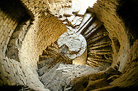 At 40 meters high, the first floor and is unique double helicoidal stairs inside the Menar e Jam in the Ghor province - Afghanistan..Next to the Menar e Jam, the former capital of the Ghorides Empire Fîrûzkôh.