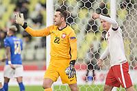 11th October 2020, The Stadion Energa Gdansk, Gdansk, Poland; UEFA Nations League football, Poland versus Italy; LUKASZ FABIANSKI asks for a decison watched by ROBERT LEWANDOWSKI (Pol)