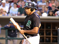 August 30, 2003:  Manny Paula of the Dayton Dragons, Class-A affiliate of the Cincinnati Reds, during a Midwest League game at Fifth Third Field in Dayton, OH.  Photo by:  Mike Janes/Four Seam Images