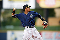 Lake County Captains third baseman Jorma Rodriguez (47) throws to first base during the second game of a doubleheader against the West Michigan Whitecaps on August 6, 2017 at Classic Park in Eastlake, Ohio.  West Michigan defeated Lake County 9-0.  (Mike Janes/Four Seam Images)