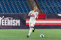 FOXBOROUGH, MA - SEPTEMBER 1: Deri Corfe #9 of FC Tucson brings the ball forward during a game between FC Tucson and New England Revolution II at Gillette Stadium on September 1, 2021 in Foxborough, Massachusetts.