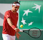 Roger Federer Trains during Roland Garros