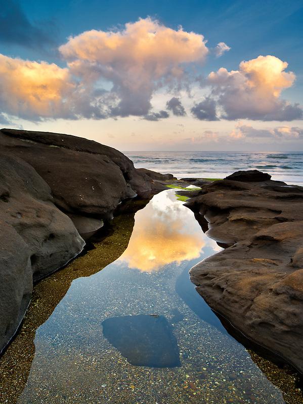 Tide pool and sunrise. Smelt Sands State Park, Oregon