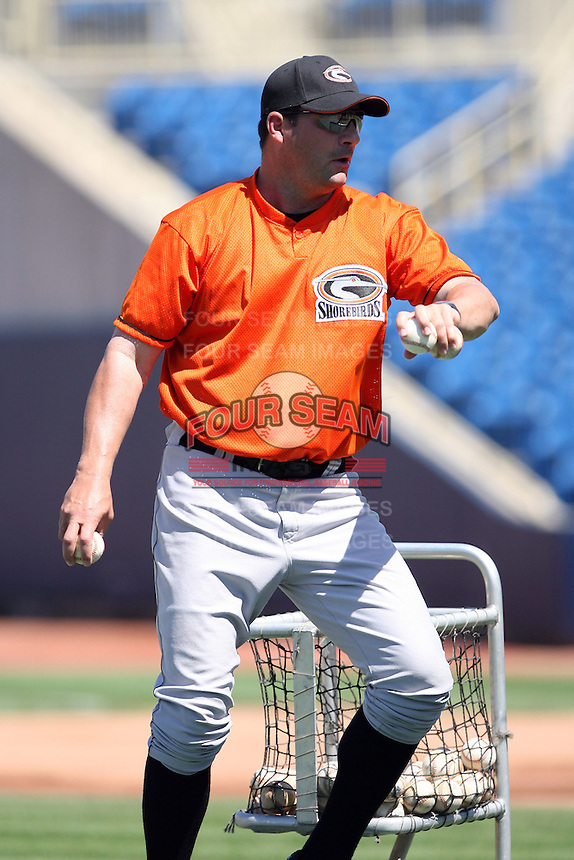 June 11th 2008:  Coach Ryan Minor of the Delmarva Shorebirds, Class-A affiliate of the Baltimore Orioles, during a game at Classic Park in Eastlake, OH.  Photo by:  Mike Janes/Four Seam Images
