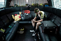Luke Durbridge (AUS/Mitchelton-Scott) in the back of the teambus at the race start in Tarbes<br /> <br /> Stage 14: Tarbes to Tourmalet(117km)<br /> 106th Tour de France 2019 (2.UWT)<br /> <br /> ©kramon