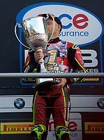 Shane Byrne of Be Wiser Ducati Racing Team kisses the trophy after winning the MCE British Superbikes in Association with Pirelli round championship 2017 - BRANDS HATCH (GP) at Brands Hatch, Longfield, England on 15 October 2017. Photo by Alan  Stanford / PRiME Media Images.