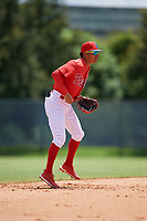 GCL Phillies West shortstop Christian Valerio (45) during a Gulf Coast League game against the GCL Yankees East on August 3, 2019 at the Carpenter Complex in Clearwater, Florida.  The GCL Yankees East defeated the GCL Phillies West 4-0, the second game of a doubleheader.  (Mike Janes/Four Seam Images)
