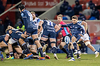 12th February 2021; AJ Bell Stadium, Salford, Lancashire, England; English Premiership Rugby, Sale Sharks versus Bath; Will Cliff of Sale Sharks clears the ball