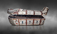 "Ancient Egyptian wooden sarcophagus - the coffin of Puia circa 1800BC - Thebes Necropolis. Egyptian Museum, Turin. Grey background<br /> <br /> From about 100BC ""anthropoid "" sarcophagi with fihure shaped lids started to replace rectangular coffins. Pia was probably the son of Puyemre, a high official of Thebes and second priest of Amon under the woman pharoah, Hatshepsut (1479-1458). The sarcophagus was excavated by Robert Mond from a shaft grave found close to the tomb of Puyemre in Thebes Necropolis."
