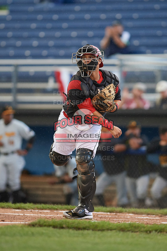 Batavia Muckdogs catcher Bryan De La Rosa (15) throws down to third after a strikeout during a game against the West Virginia Black Bears on June 24, 2017 at Dwyer Stadium in Batavia, New York.  The game was suspended in the bottom of the third inning and completed on June 25th with West Virginia defeating Batavia 6-4.  (Mike Janes/Four Seam Images)