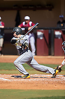 Griffin Helms (34) of the Kennesaw State Owls follows through on his swing against the Winthrop Eagles at the Winthrop Ballpark on March 15, 2015 in Rock Hill, South Carolina.  The Eagles defeated the Owls 11-4.  (Brian Westerholt/Four Seam Images)
