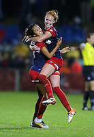 Boyds, MD - Friday Sept. 30, 2016: Tori Huster, Caprice Dydasco celebrate after a National Women's Soccer League (NWSL) semi-finals match between the Washington Spirit and the Chicago Red Stars at Maureen Hendricks Field, Maryland SoccerPlex. The Washington Spirit won 2-1 in overtime.