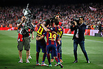 Barcelona´s Neymar Jr, Leo Messi and Rafinha celebrate after winning the 2014-15 Copa del Rey final match against Athletic de Bilbao at Camp Nou stadium in Barcelona, Spain. May 30, 2015. (ALTERPHOTOS/Victor Blanco)