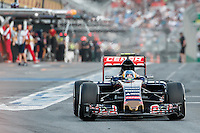 March 14, 2015: Carlos Sainz (ESP) #55 from the Scuderia Toro Rosso team leaves the pits for qualification at the 2015 Australian Formula One Grand Prix at Albert Park, Melbourne, Australia. Photo Sydney Low