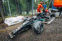 18th April 2021; Autodromo Enzo and Dino Ferrari, Imola, Italy; F1 Grand Prix of Emilia Romagna, Race Day;  The car of BOTTAS Valtteri (fin), Mercedes AMG F1 GP W12 E Performance after his crash with George Russell of Williams