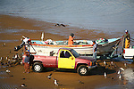 Independant fishing team with  panga boat and truck. Pelicans also await the oncoming tide that bring in a bounty of fish.