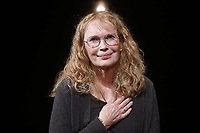 NEW YORK, NY- SEPTEMBER 18: Mia Farrow takes her opening night curtain call for Love Letters, held at the Brooks Atkinson Theatre, on September 18, 2014, in New York City. Credit: Joseph Marzullo/MediaPunch
