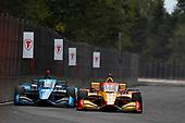 #28: Ryan Hunter-Reay, Andretti Autosport Honda, #59: Max Chilton, Carlin Chevrolet close pass