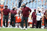 CHAPEL HILL, NC - OCTOBER 10: Head coach Justin Fuente of Virginia Tech during a game between Virginia Tech and North Carolina at Kenan Memorial Stadium on October 10, 2020 in Chapel Hill, North Carolina.