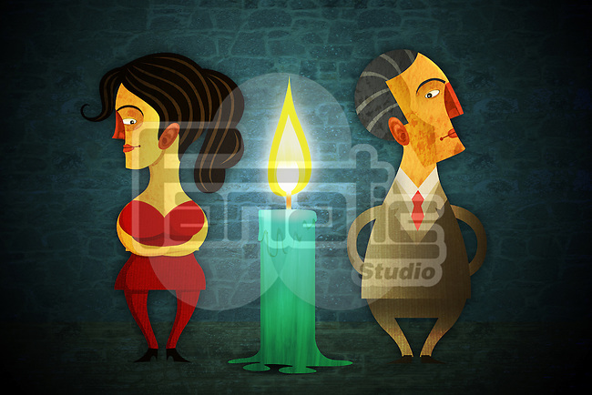 Illustrative image of candle in between of couple representing relationship difficulties