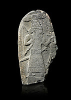Hittite monumental relief sculpture of a God hunting, its hieroglyphic symbol is above its head. Late Hittite Period - 900-700 BC. Adana Archaeology Museum, Turkey. Against a black background