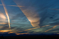 contrails in winter sky