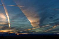 contrails in winter sky