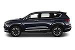 Car Driver side profile view of a 2021 Hyundai Santa-FE-Hybrid Limited-HEV 5 Door SUV Side View