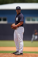 FCL Yankees pitcher Kevin Milam (39) during a game against the FCL Blue Jays on June 29, 2021 at the Yankees Minor League Complex in Tampa, Florida.  (Mike Janes/Four Seam Images)
