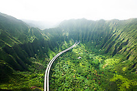 An aerial view of Interstate H-3 taken in the mid-afternoon on O'ahu.