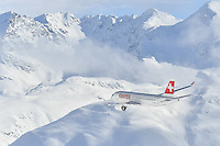 February 7, 2017: The Swiss Air's new Bombardier C Series plane during a pre-race airshow at the FIS Alpine Ski World Championships. Photo Sydney Low