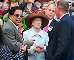 29 August 2009: Mary Lou Whitney (cente, brown hat) congratulates trainer Time Ice and the owners of Summer Bird after their horse won the Travers Stakes at Saratoga Race Track in Saratoga Springs, New York