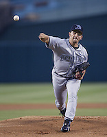 Victor Zambrano of the Tampa Bay Devil Rays pitches during a 2002 MLB season game against the Los Angeles Angels at Angel Stadium, in Los Angeles, California. (Larry Goren/Four Seam Images)