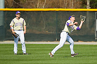 Western Carolina Catamounts left fielder Austin Neary (33) catches a fly ball during the game against the Davidson Wildcats at Wilson Field on March 10, 2013 in Davidson, North Carolina.  The Catamounts defeated the Wildcats 5-2.  (Brian Westerholt/Four Seam Images)