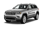 2017 JEEP Grand-Cherokee Limited 5 Door SUV Angular Front stock photos of front three quarter view