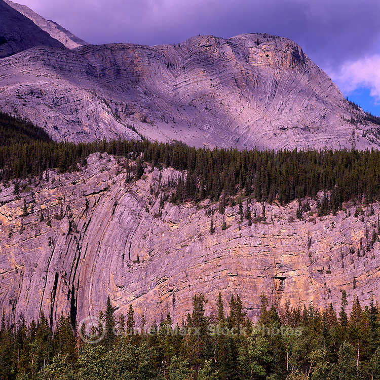 Folded Mountain along Alaska Highway in Northern Rocky Mountains, near Muncho Lake Provincial Park, Northern BC, British Columbia, Canada