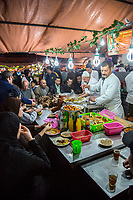 Marrakesh, Morocco.  Food Stands at Night in the Place jemaa El Fna.