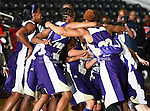 The Prairie View A&M Lady Panthers celebrate after winning the SWAC Tournament Championship game between the Prairie View A&M Lady Panthers and the Southern University Jaguars at the Special Events Center in Garland, Texas. Prairie View defeats  Southern 48 to 44