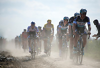 2014 winner Niki Terpstra (NLD/Etixx-QuickStep) following his teammates who are chasing the race leaders 2 minutes ahead in sector 14: Tilloy à Sars-et-Rosières (2.4km)<br /> <br /> 113th Paris-Roubaix 2015