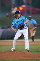 Dry Pond Blue Sox pitcher Collin Shannon (4) (Pine Lake Prep HS) in action against the Mooresville Spinners at Moor Park on July 2, 2020 in Mooresville, NC.  The Spinners defeated the Blue Sox 9-4. (Brian Westerholt/Four Seam Images)