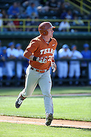 Patrick Mathis (33) of the Texas Longhorns runs to first base during a game against the UCLA Bruins at Jackie Robinson Stadium on March 12, 2016 in Los Angeles, California. UCLA defeated Texas, 5-4. (Larry Goren/Four Seam Images)
