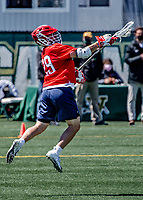 1 May 2021: Stony Brook University Seawolves Midfielder Jimmy Morrell, a Senior from Bellport, NY, in action against the University of Vermont Catamounts at Virtue Field in Burlington, Vermont. The Cats edged out the Seawolves 14-13 with less than one second to play in their America East Men's Lacrosse matchup. Mandatory Credit: Ed Wolfstein Photo *** RAW (NEF) Image File Available ***