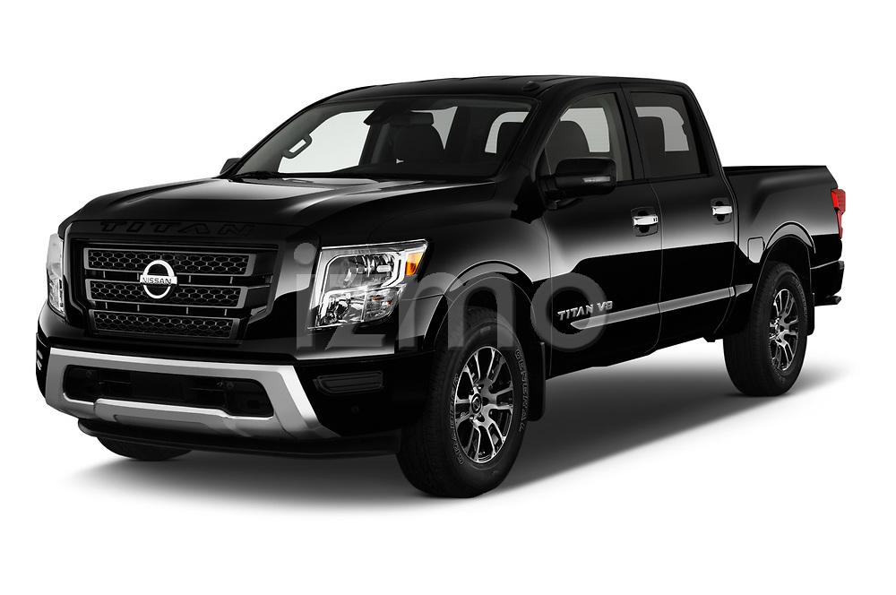 2020 Nissan Titan SV 4 Door Pick-up Angular Front automotive stock photos of front three quarter view
